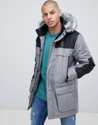 Gym King hooded parka jacket with faux fur hood - Grey