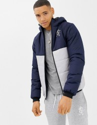 Gym King Hooded Puffer Jacket In Navy Colour Block - Navy