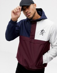 Gym King hooded windbreaker in burgundy colour block - Red