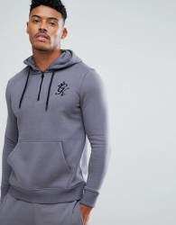 Gym King Hoodie In Grey With Quarter Zip - Grey