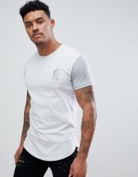 Gym King Logo Muscle Fit Longline T-Shirt In Grey Marl - Grey