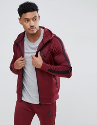 Gym King Logo Poly Hoodie In Burgundy - Red