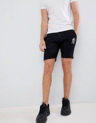 Gym King logo shorts in black with side stripe taping - Black