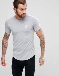 Gym King Logo T-Shirt In Muscle Fit With Contrast Sleeves - Grey