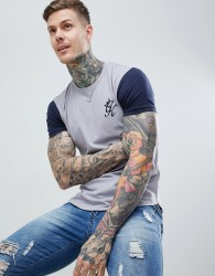 Gym King Long Line Contrast Tee in Navy Nights / Silver Grey - Navy