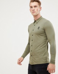 Gym King long sleeve jersey shirt in olive - Green