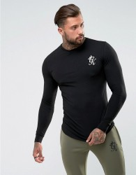 Gym King Long Sleeve T-Shirt In Muscle Fit - Black