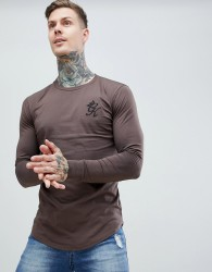 Gym King Long Sleeve Top in dark brown - Brown