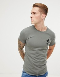 Gym King longline fitted t-shirt in castor grey - Grey