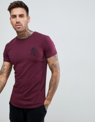 Gym King longline fitted t-shirt in wine - Red