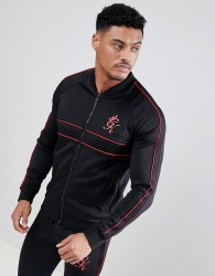 Gym King Muscle Baseball Jacket In Black - Black