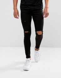 Gym King Muscle Fit Jeans In Black With Distressing - Black