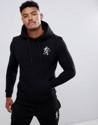 Gym King muscle hoodie in black with logo - Black