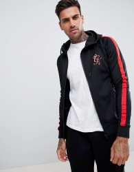 Gym King muscle hoodie in black with red side stripe - Black