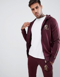 Gym King muscle hoodie in burgundy with gold piping - Red