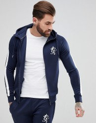 Gym King Muscle Hoodie In Navy With White Stripe - Navy