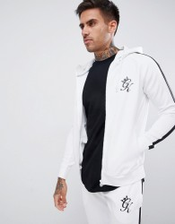 Gym King muscle logo hoodie in white - White