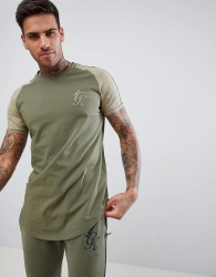 Gym King muscle logo t-shirt in khaki with contrast sleeves - Green