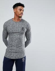 Gym King Muscle Long Sleeve T-Shirt In Grey Rib - Grey