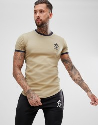 Gym King muscle ringer t-shirt in khaki with logo - Green