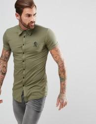 Gym King Muscle Shirt In Khaki - Green