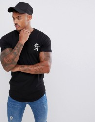 Gym King muscle t-shirt in black with logo - Black