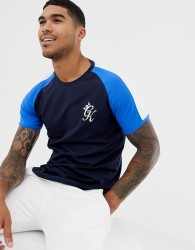 Gym King muscle t-shirt in blue with contrast sleeves - Blue