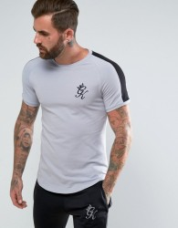 Gym King Muscle T-Shirt In Grey With Black Stripe - Grey