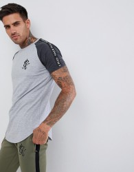 Gym King muscle t-shirt in grey with contrast sleeves and side stripe taping - Grey