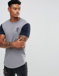 Gym King Muscle T-Shirt In Grey With Contrast Sleeves - Grey