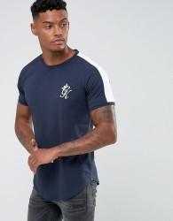 Gym King Muscle T-Shirt In Navy With Contrast Sleeves - Navy