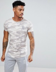 Gym King Muscle T-Shirt In Stone Camo - Stone