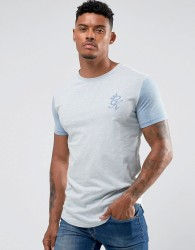 Gym King Muscle T-Shirt In White With Blue Sleeves - White