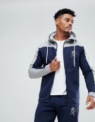 Gym King Muscle Track Hoodie In Navy With Contrast Panel - Navy