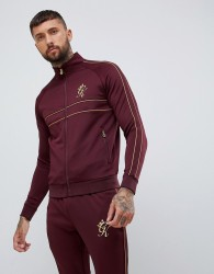 Gym King muscle track top in burgundy with gold side stripes - Red