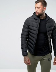Gym King Puffer Jacket In Black With Hood - Black