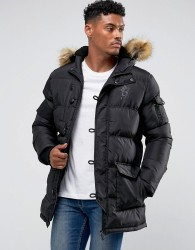 Gym King Puffer Parka In Black With Faux Fur Hood - Black