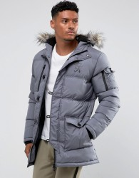 Gym King Puffer Parka In Grey With Faux Fur Hood - Grey