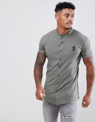 Gym King short sleeve grandad jersey shirt in Castor Grey - Grey