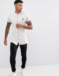 Gym King short sleeve grandad shirt in Cloud - Grey