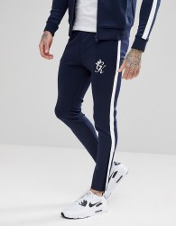 Gym King Skinny Joggers In Navy With White Stripe - Navy