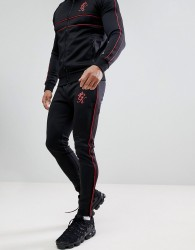 Gym King Skinny Red Piping Joggers In Black - Black