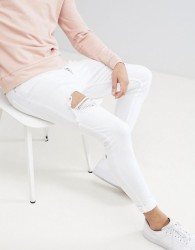 Gym King Super Skinny Jeans In White With Distressing - White