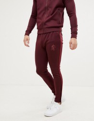 Gym King taped tracksuit bottoms in wine - Red