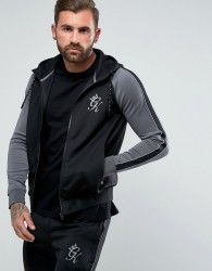 Gym King Track Hoodie In Black With Reflective Logo - Black