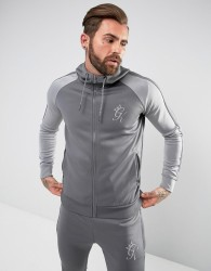 Gym King Track Hoodie In Grey With Reflective Logo - Grey
