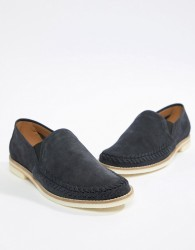 H By Hudson Aldeburgh Suede Loafers In Navy - Navy