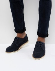 H By Hudson Andover Suede Lace Up Shoes In Navy - Navy
