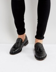 H By Hudson Benedict Grain Leather Tassel Loafers - Black