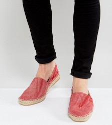 H By Hudson Exclusive for ASOS Washed Canvas Espadrilles - Red